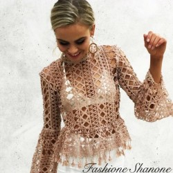 Lace T-shirt with flared sleeves