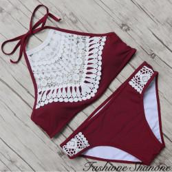 Fashione Shanone - Bikini bordeaux à encolure montante
