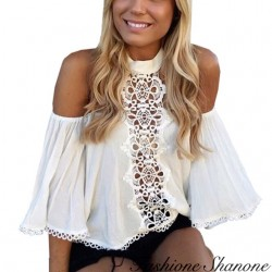 Fashione Shanone - Blouse à encolure Bardot avec dentelle