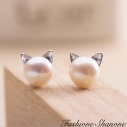 Fashione Shanone - Boucles d'oreilles perle chat