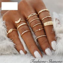 Fashione Shanone - Ensemble de bagues dorées
