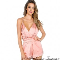 Fashione Shanone - Combinaison short en satin rose