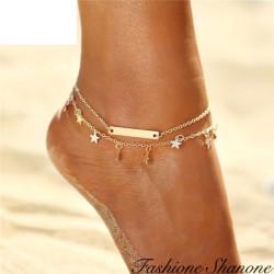 Double bracelet de cheville étoilé