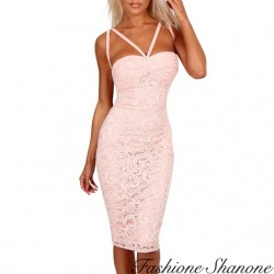 Fashione Shanone - Robe rose en dentelle