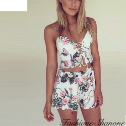 Fashione Shanone - Ensemble crop top et short fleuri