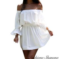 Fashione Shanone - Robe blanche à encolure Bardot