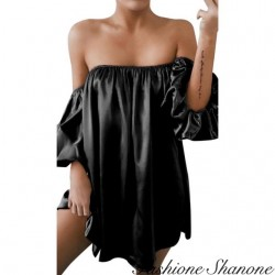 Fashione Shanone - Robe en satin à encolure Bardot