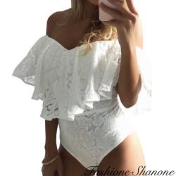 Lace bodysuit with Bardot neckline