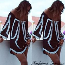 Fashione Shanone - Robe fluide à encolure Bardot