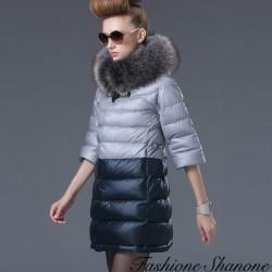 Fashione Shanone - Manteau mi-long bicolore avec capuche en fourrure