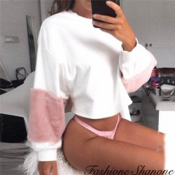 Fashione Shanone - Sweat blanc avec fourrure rose