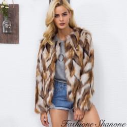 Fashione Shanone - Manteau en fourrue tricolore
