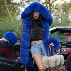 Fashione Shanone - Khaki mid-length coat with blue fur