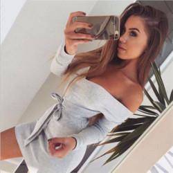 Fasione Shanone - Robe grise encolure Bardot