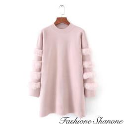 Fashione Shanone - Robe pull avec fourrure aux manches