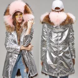 Fashione Shanone - Longe parka argentée avec capuche en fourrure
