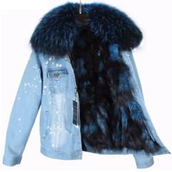Manteau en jean avec fourrure
