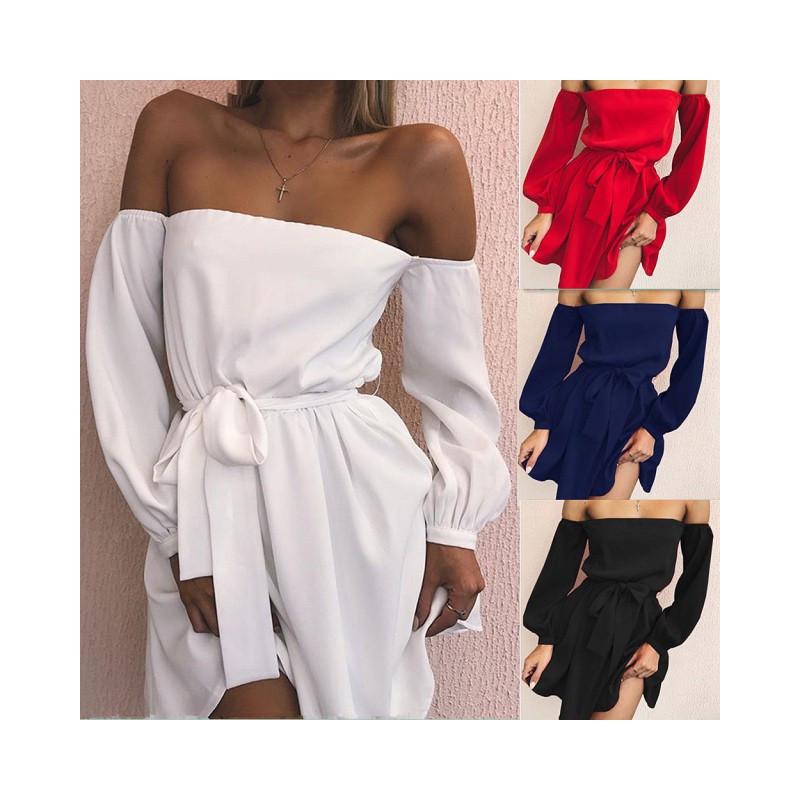 Fashione Shanone - Robe encolure Bardot avec ceinture