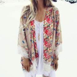 Fashione Shanone - Kimono fleuri avec dentelle