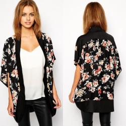 Fashione Shanone - Kimono noir fleuri