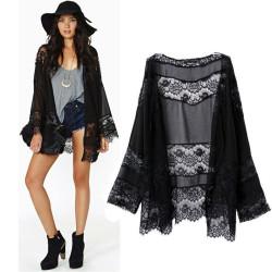 Fashione Shanone - Kimono noir en dentelle