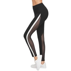 Fashione Shanone - Black fitness pants with transparent patchwork