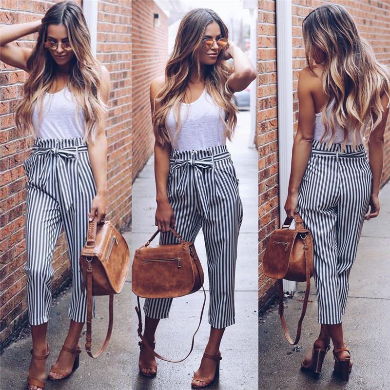 Fashione Shanone - Pantalon taille haute rayée