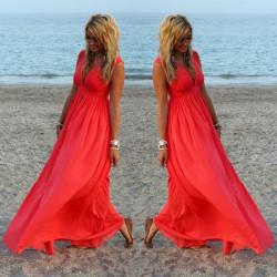 Fashione Shanone - Plunging neckline red long dress