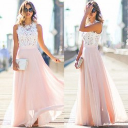 Fashione Shanone - Robe longue rose et dentelle blanche