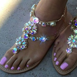 Fashione Shanone - Flat sandals with diamonds
