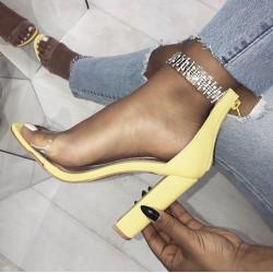 Fashione Shanone - Sandales à talons jaunes avec strass
