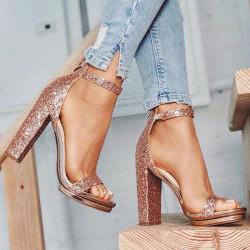 Sandales à talons à paillettes