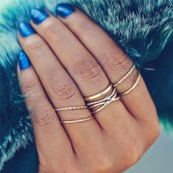 Fashione Shanone - Ensemble de 5 bagues anneaux dorées