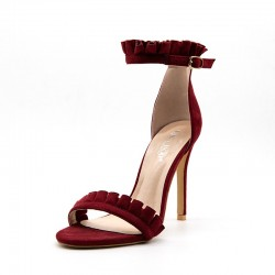 Fashione Shanone - Ruffles red wine heeled sandals