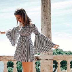 Fashione Shanone - Stripped dress with Bardot neckline