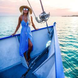 Fashione Shanone - Robe rayée bleue et blanche