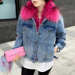 Fashione Shanone - Veste en jean avec fourrure