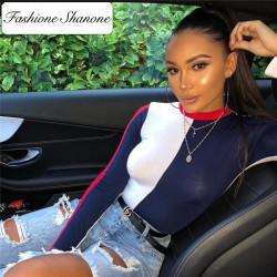 Fashione Shanone - Long sleeves tricolor bodysuit