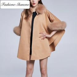 Fashione Shanone - Cape beige avec fourrure