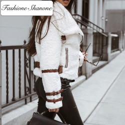 Fashione Shanone - Manteau blanc en laine d'agneau