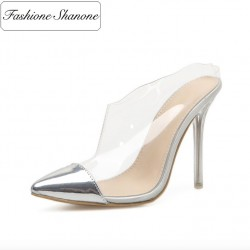 Fashione Shanone - Transparent heeled sandals with silver toe