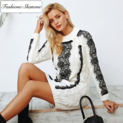 Fashione Shanone - Sweater dress with lace