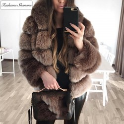 Fashione Shanone - Manteau de fourrure marron