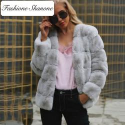 Fashione Shanone - Manteau en fourrure rayé