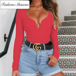 Fashione Shanone - Long sleeves plunging neckline t-shirt