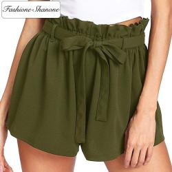 Fashione Shanone - Army green high waist shorts