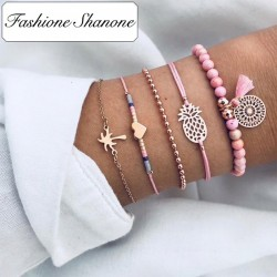 Fashione Shanone - Ensemble de bracelets palmier ananas