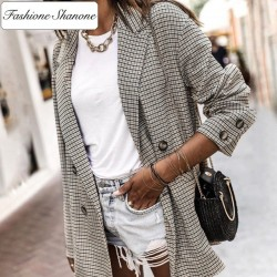 Fashione Shanone - Double breasted plaid blazer