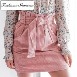 Fashione Shanone - Jupe en velours rose