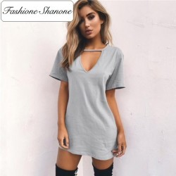 Fashione Shanone - Limited stock - Plunging neckline T-shirt dress